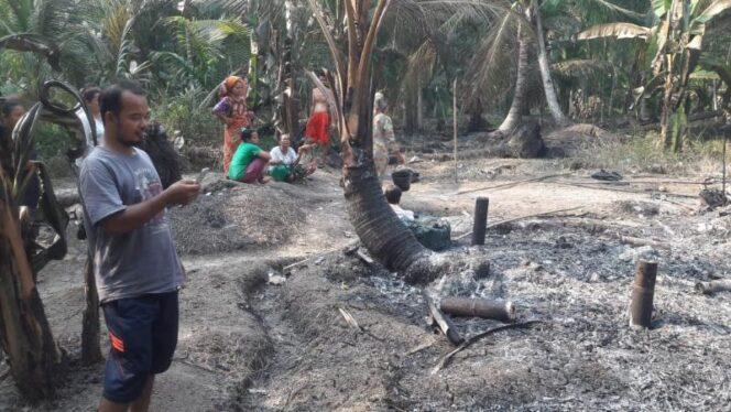 FOTO : Rumah M.Habibi  Warga di Desa Betara Kanan Yang Terbakar pukul 14.00 WIB, Sabtu (07/09/19)