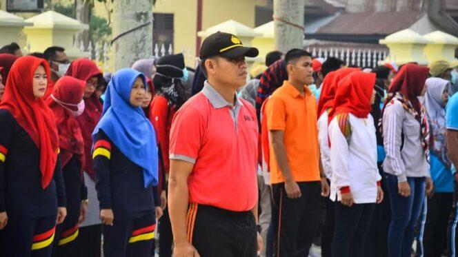 FOTO : Upacara Peringatan Hari Olahraga Nasional (Haornas) Ke XXXVI Tahun 2019 di Halaman Kantor Bupati Tanjab Barat, Senin (09/09/29)
